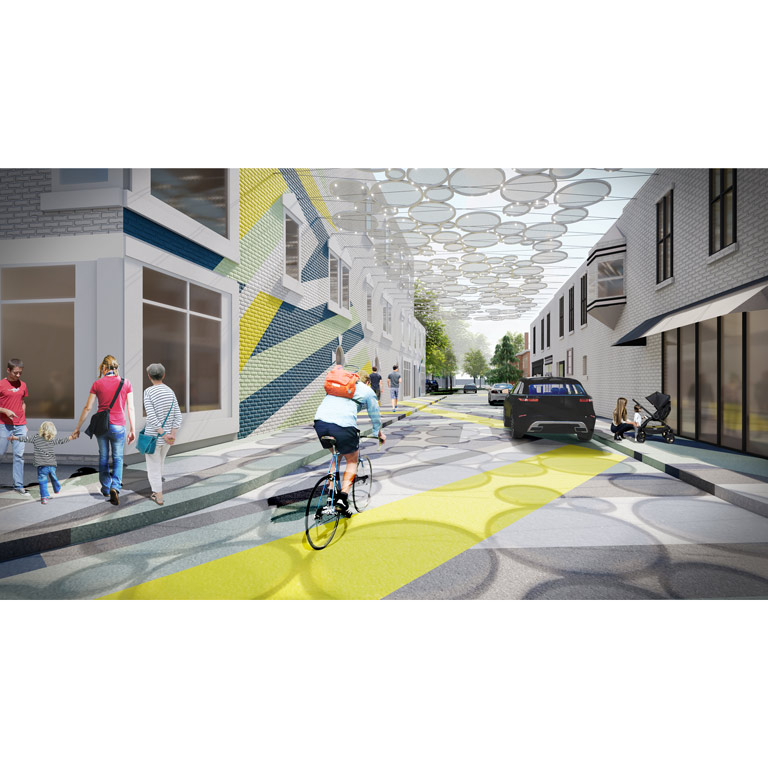 An architectural rendering of a person cycling through an alleyway with a canopy above.