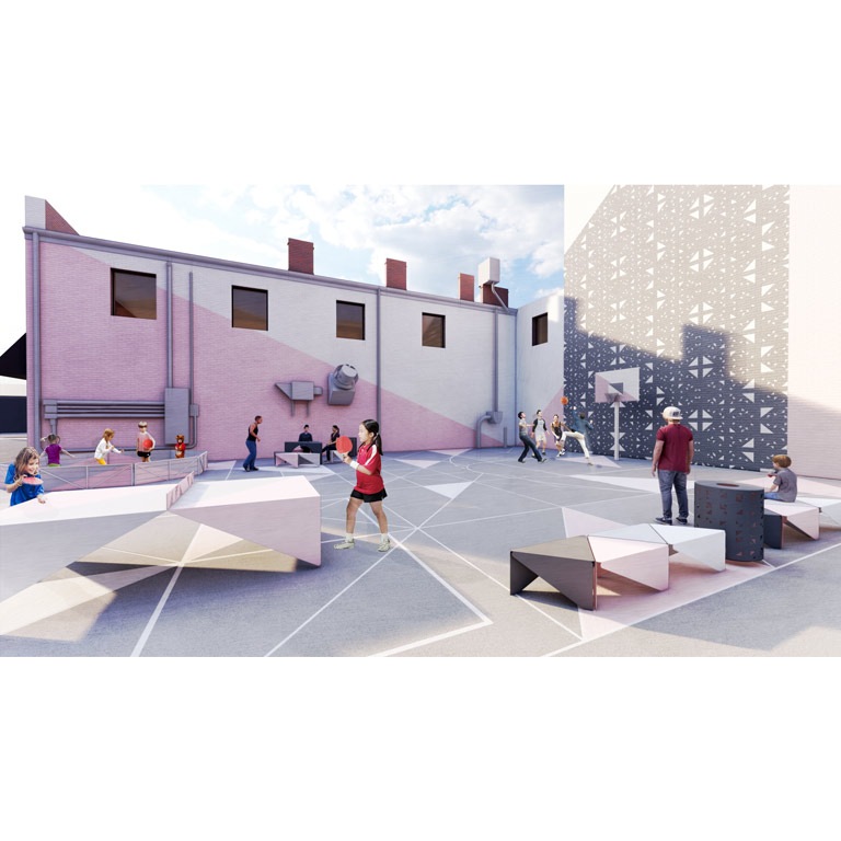 An architectural rendering of a plaza with a basketball park and places to sit and play.