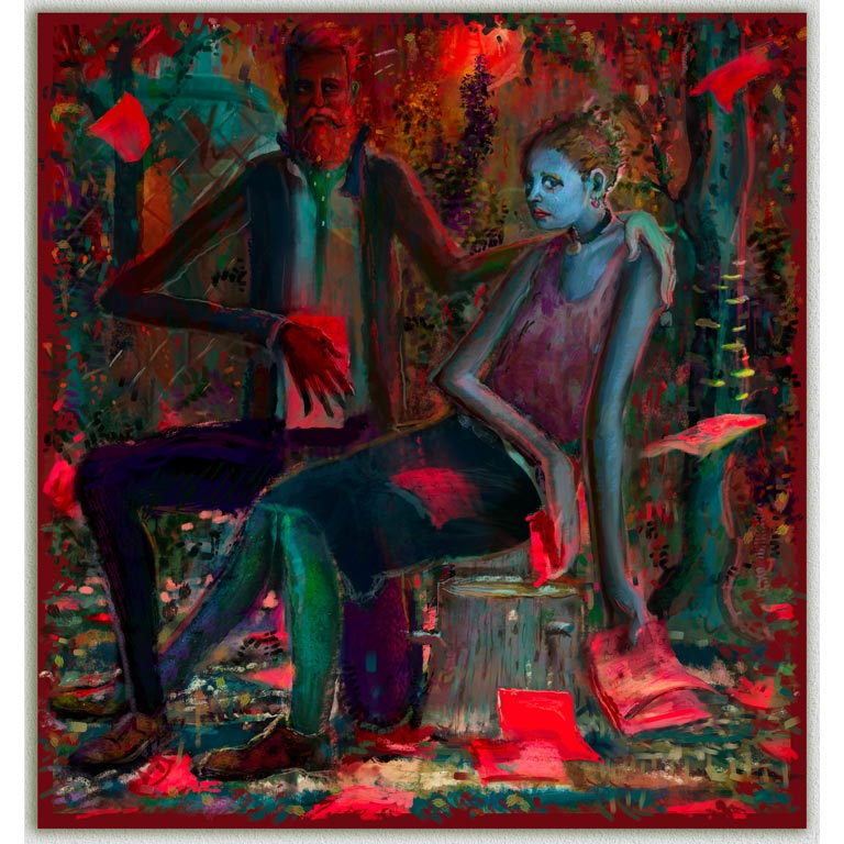 A painting of two people with a red background.