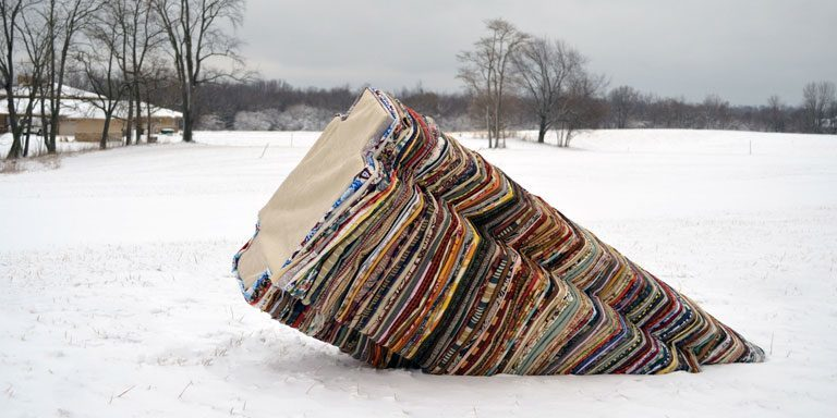 A sculpture in the snow.