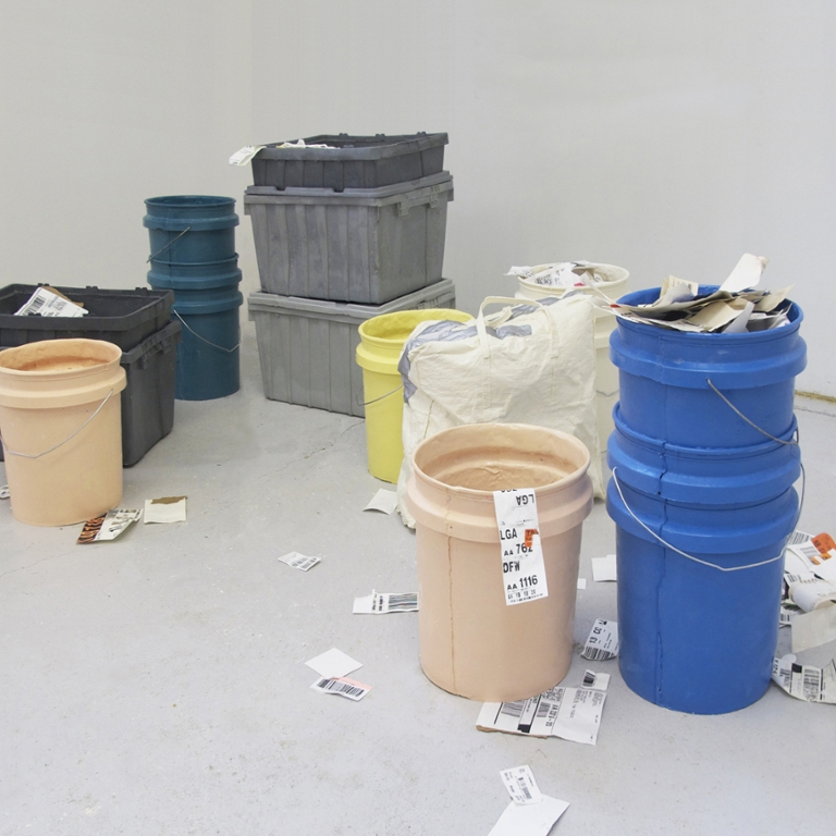 Artwork containing buckets and containers.