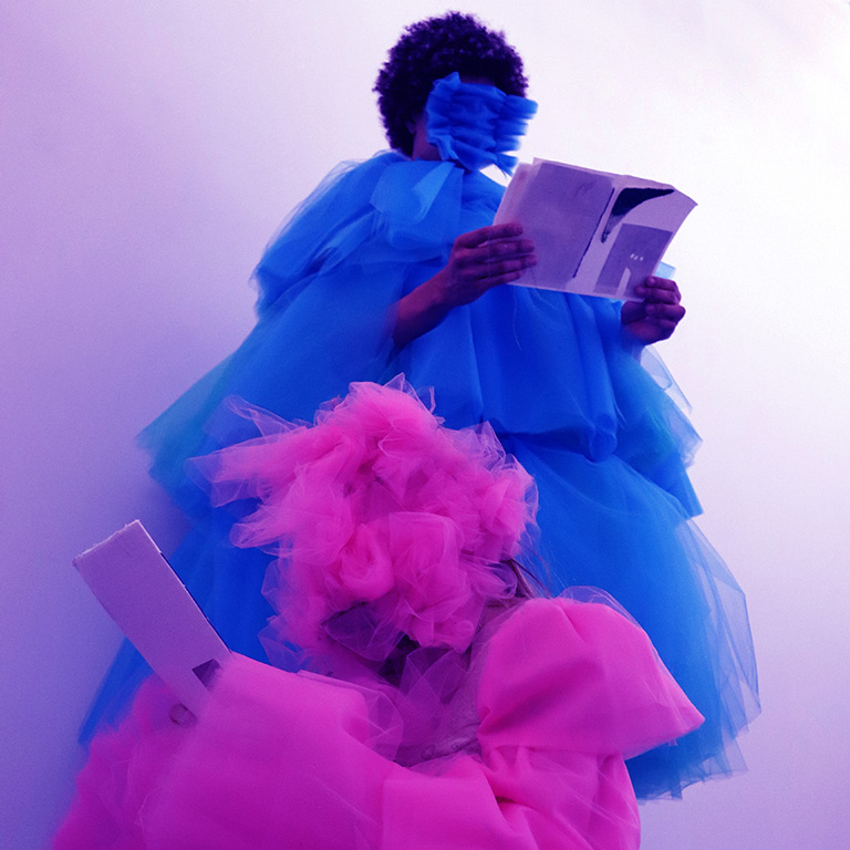 A photo of two figures dressed in purple and pink tulle.