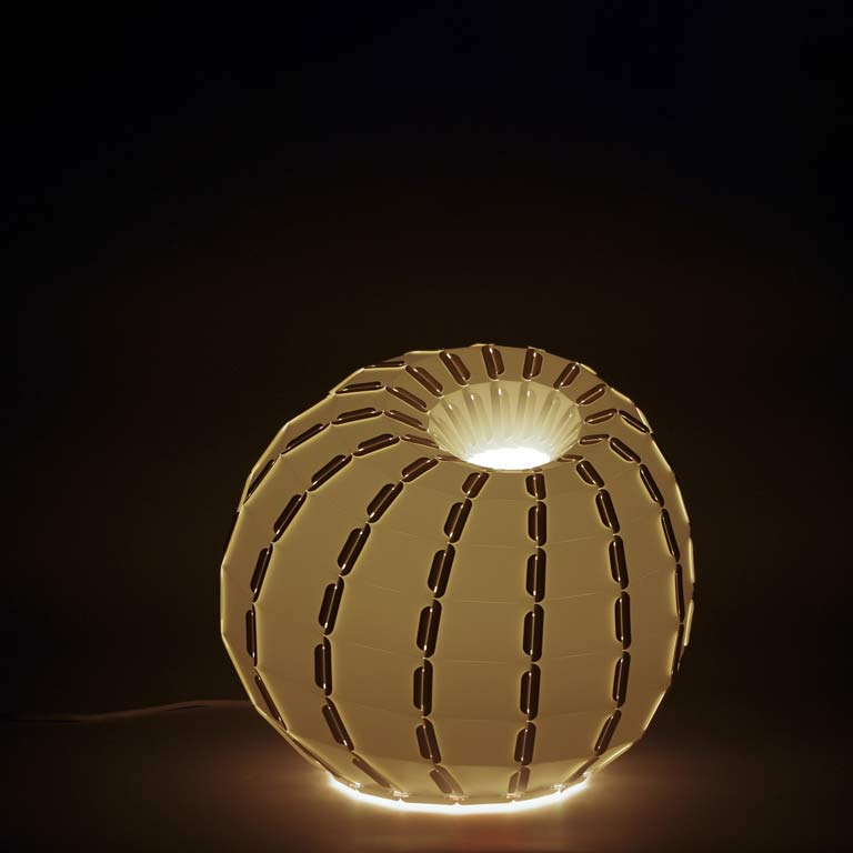A globe shaped lamp lit up in a dark room.