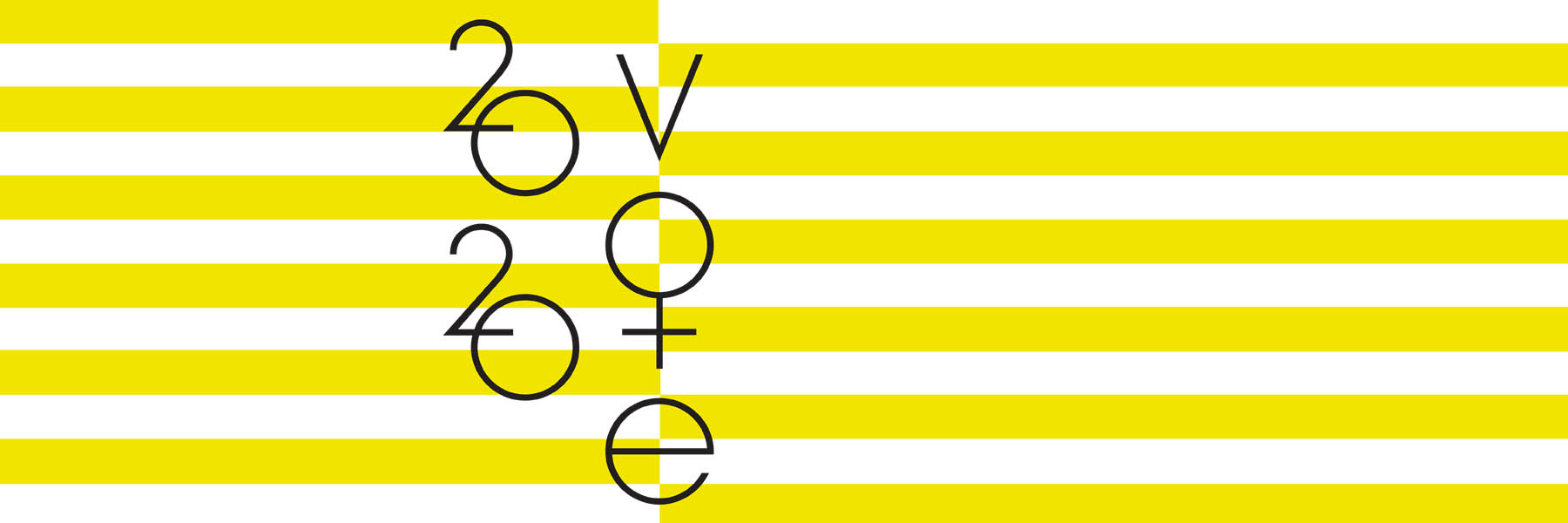 A striped yellow and white background with the words: 2020 Vote.