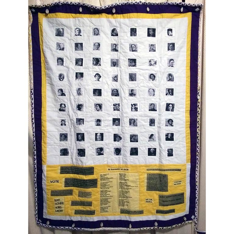 A quilt with the images of 63 suffragists of color in black and white, with their names at the bottom.