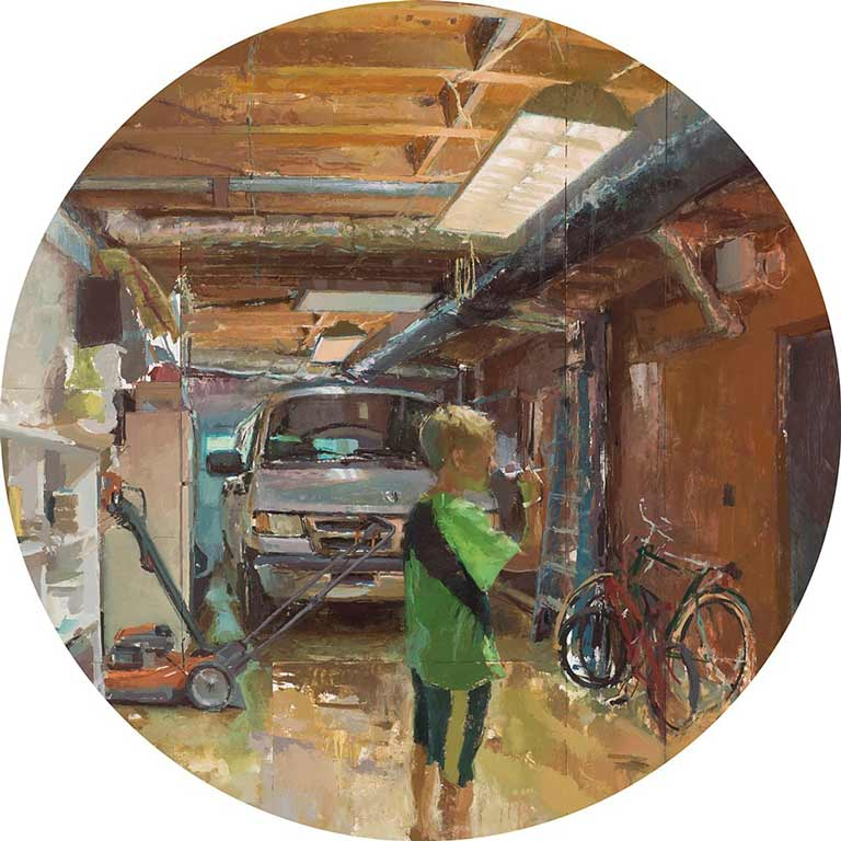 A painting of a person in a garage.