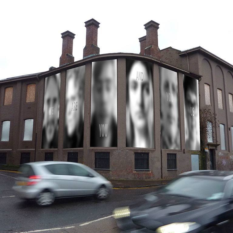 Blurred images of people on a building!
