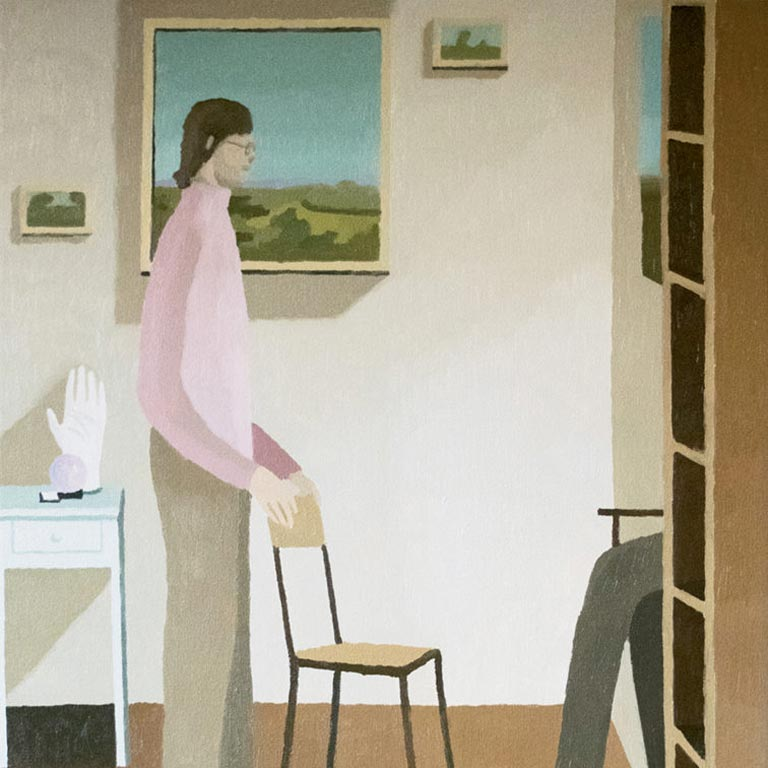 Artwork of a person in khakis and a pink shirt holding on to the back of a chair.