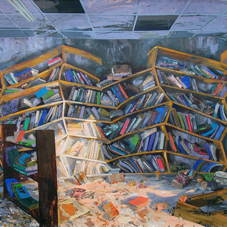 A painting of collapsed bookshelves.