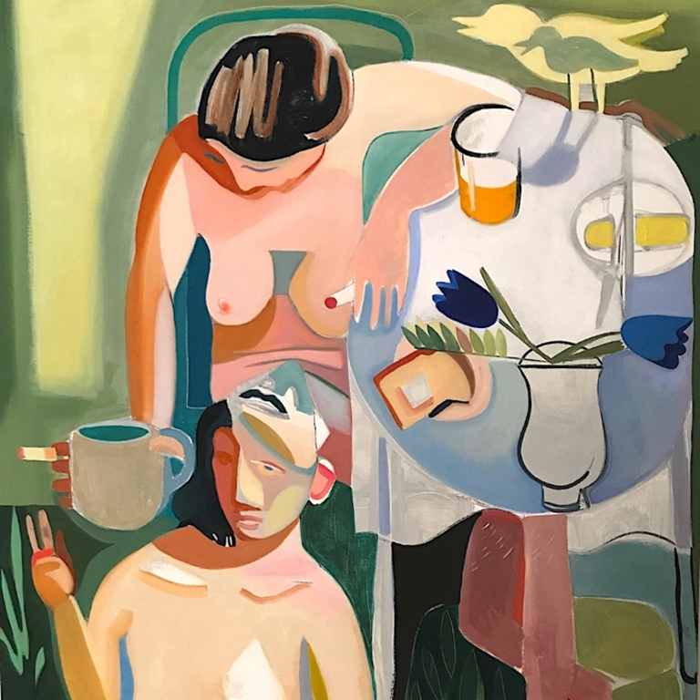 Artwork featuring nudes at a table.