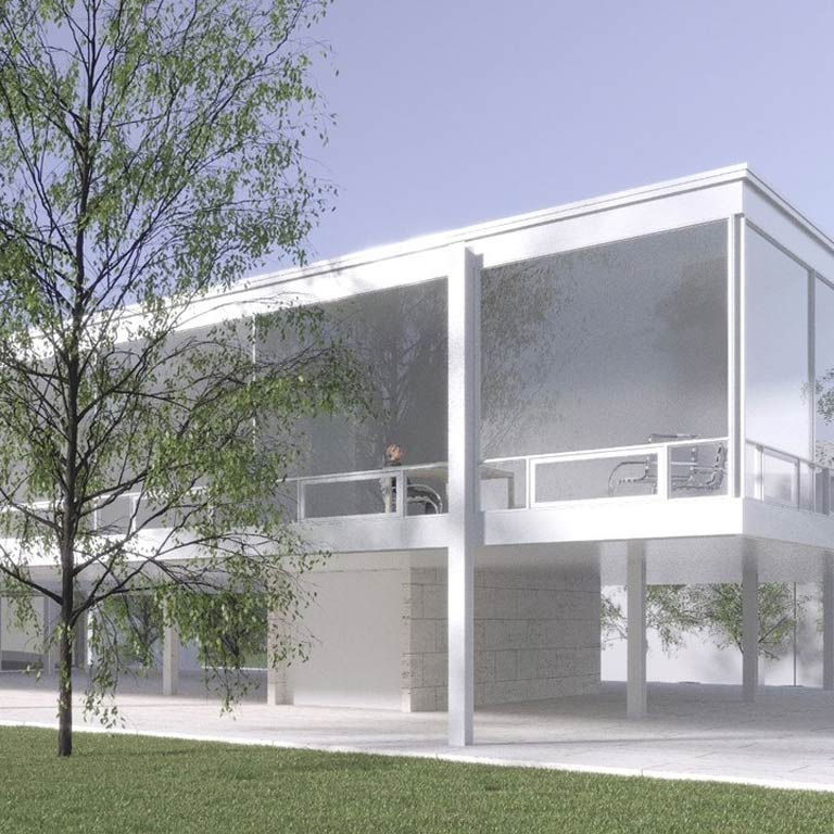 A mockup of a white minimalistic building.